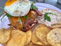 Hamburgeru i francuza dłoniaki na talerzu obrazy royalty free