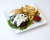 Hamburgeru i francuza dłoniaki z ketchupem zdjęcia royalty free