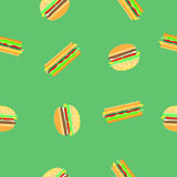 Hamburgeru i kanapki bezszwowy wzór Zdjęcie Stock