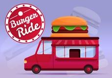 Hamburgeru jedzenia ciężarówki pojęcia sztandar, kreskówka styl ilustracja wektor