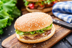 hamburgeru kurczaka fastfood gorący smakowity Zdjęcie Stock