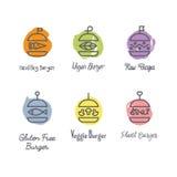 Hamburgeru logo w liniowym stylu Zdjęcia Royalty Free