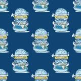 Hamburgeru ogromny bezszwowy wzór royalty ilustracja