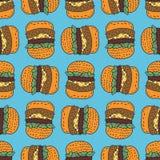 Hamburgeru rysunku wzór Duży hamburger kreskówki stylu tło ilustracji