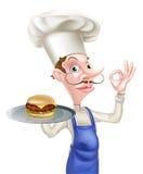 Hamburgeru szefa kuchni Perfect znak Zdjęcie Stock