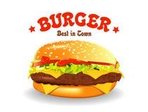 Hamburgeru wektoru ilustracja Hamburger na biel Obrazy Stock