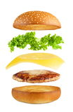 Hamburgeru wybuch, lata warstwy odizolowywać Zdjęcie Royalty Free