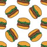 Hamburgeru wzór na białym tle royalty ilustracja