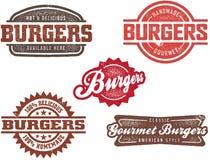 hamburgeru znaczków stylowy rocznik Zdjęcia Stock