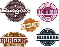 hamburgeru znaczków stylowy rocznik Obrazy Stock