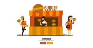 Hamburgerwinkel op de straat met klanten vector illustratie