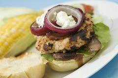 hamburgery piec na grillu indyk Obraz Stock