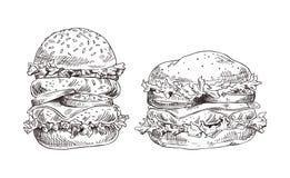 Hamburgery Ustawiający z Soczystym mięsem i Świeżą sałatką royalty ilustracja