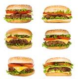 hamburgery ustawiający Zdjęcia Stock