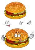 Hamburgerzeichentrickfilm-figur lokalisiert auf Weiß Lizenzfreies Stockfoto