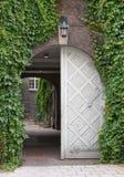 Hamburgo, Alemanha Apartamento moderno Parede coberta com as hortaliças A folha velha da porta é aberta imagens de stock royalty free