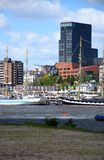 Hamburgo, Alemanha: Chopper Rescue Show no St Pauli-Landungsbrucken, Hafengeburtstag - celebra??o do anivers?rio do porto foto de stock