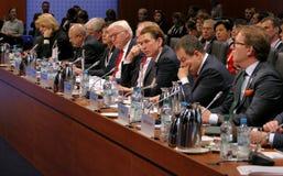 Hamburgo, Alemanha 9 de dezembro de 2016: Ministro dos Negócios Estrangeiros Dr Frank-Walter Steinmeier do alemão na sessão de fe Imagens de Stock Royalty Free