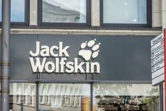 Hamburgo, Alemanha - 14 de julho de 2017: Jack Wolfstone que a loja é encontrada é ficado situado diretamente perto do townhall n Fotografia de Stock