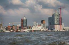 Hamburgo, Alemanha - 28 de julho de 2014: Ideia da paisagem do ` s de Hamburgo fotografia de stock royalty free