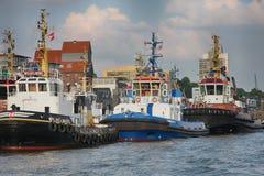 Hamburgo, Alemanha - 28 de julho de 2014: Ideia da paisagem do ` s de Hamburgo foto de stock