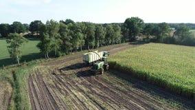 Hamburgo, Alemania - 4 de septiembre de 2018: Cosecha de maíz, máquina segador de forraje del maíz en la acción, camión de la cos almacen de video