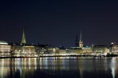 Hamburgo en la noche Imagen de archivo libre de regalías