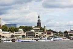 Hamburgo, estágios de aterragem do St. Pauli imagem de stock