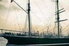 Hamburgo, iate, porto, navio, navigação, histórico, velha imagem de stock
