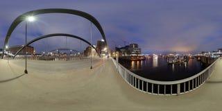 Hamburgo opinión de la calle del panorama de 360 grados Imagenes de archivo