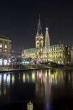 Hamburgo Townhall en la Navidad Imágenes de archivo libres de regalías