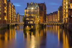 Hamburgs Speicherstadt at night Stock Image