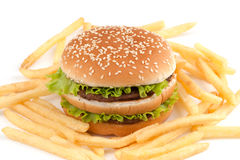 жарит hamburguer Стоковые Изображения RF