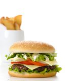 Hamburguer & fritadas Fotografia de Stock Royalty Free