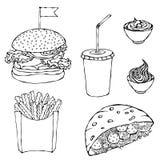 Hamburguer, copo da cola com palha, batatas fritas, ketchup, pão árabe do Falafel ou salada da almôndega no molho da maionese do  ilustração royalty free
