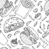 Hamburguer, copo da cola com palha, batatas fritas, ketchup, pão árabe do Falafel ou salada da almôndega no molho da maionese do  ilustração stock