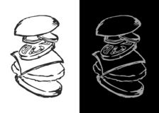 Hamburguer desenhado à mão Hamburguer analisado gramaticalmente pela ilustração do vetor das peças molde para menus e restaurante ilustração stock