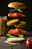 Hamburguer do grão-de-bico do vegetariano de Deconstructured foto de stock
