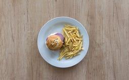 Hamburguer do queijo com fritadas Imagens de Stock Royalty Free
