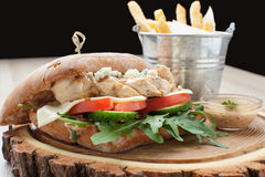 Hamburguer do sanduíche de galinha do trigo, batatas fritadas, molho de mostarda SE Imagem de Stock