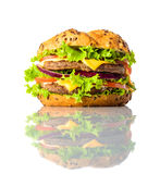 Hamburguer do sanduíche no fundo branco Imagem de Stock