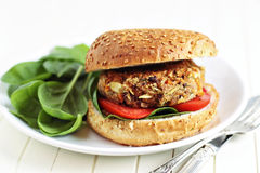 Hamburguer do Vegan com espinafre Fotografia de Stock