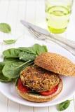 Hamburguer do Vegan com espinafre Fotografia de Stock Royalty Free