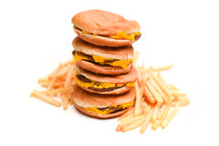Hamburguer e batatas fritas do fast food isolados no branco Imagem de Stock Royalty Free
