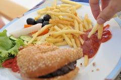 Hamburguer e fritadas   Imagem de Stock