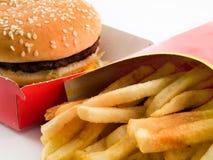 Hamburguer e fritadas Tasteless no cartão Fotografia de Stock