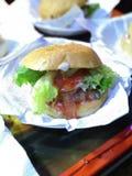 Hamburguer e galinha Sauced Fotos de Stock Royalty Free