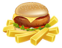 Hamburguer e microplaquetas ou batatas fritas ilustração stock