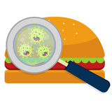 Hamburguer with germs. Magnifying glass showing germs on hamburguer. White background Royalty Free Stock Photography