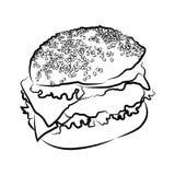 Hamburguer grande, ilustração do vetor Foto de Stock Royalty Free